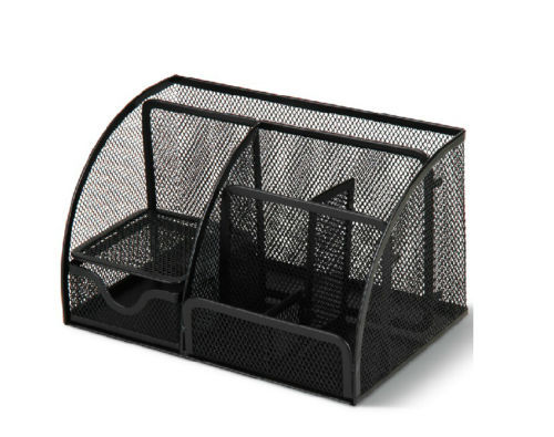 Black Metal Mesh Desk Organizer Desktop Pencil Holder Desk Accessories Storage цена и фото