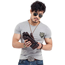 Men's Wolf embroidery T-shirt Cotton Short Sleeve