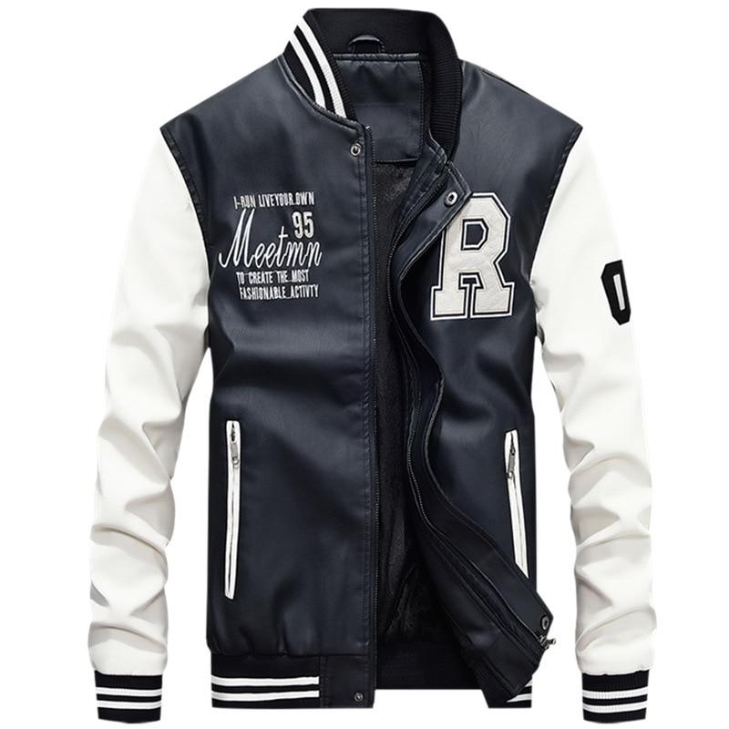 M 4XL мужская бейсбольная куртка из искусственной кожи с вышивкой, приталенная куртка из флиса для колледжа, Роскошные куртки пилота, мужская