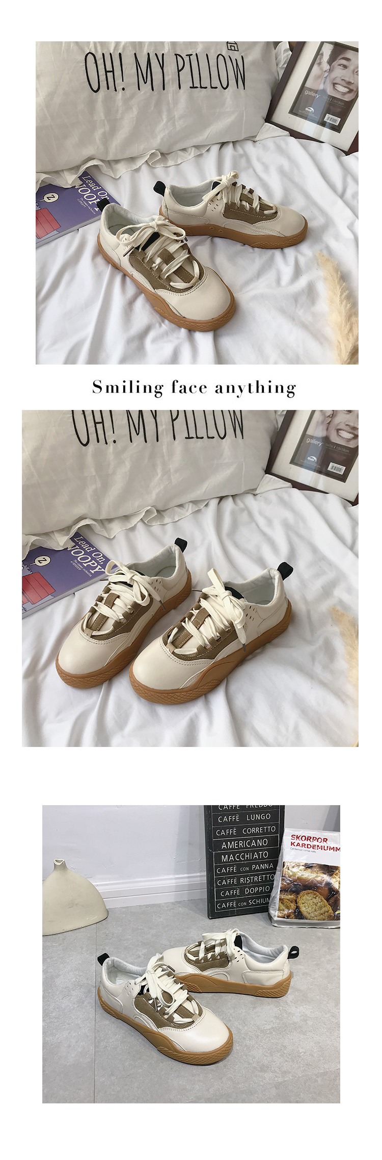 2019 Women Sneakers Leather Hook Loop All Match Female Casual Shoes Concise Style Lady White Shoes Students New Fashion 35-39 33