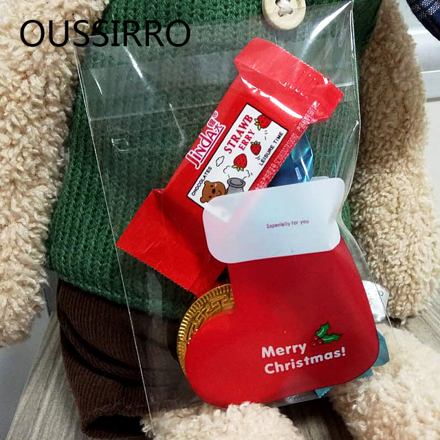 25PCS/Lot Mini Christmas Stocking Boots Cookies Packaging Bags Self ...