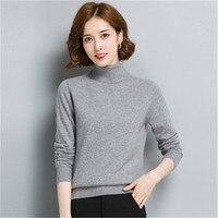 100% кашемир Твердые вязать для женщин Мода Водолазка пуловер свитер серый 5 видов цветов S XL Розничная и оптовая продажа