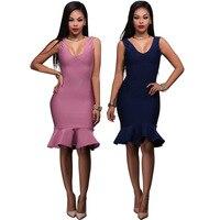 2017 Summer Dress Women Sexy Ruffles Deep V Neck Bandage Bodycon Vestidos Clubwear Sleeveless Dress Purple