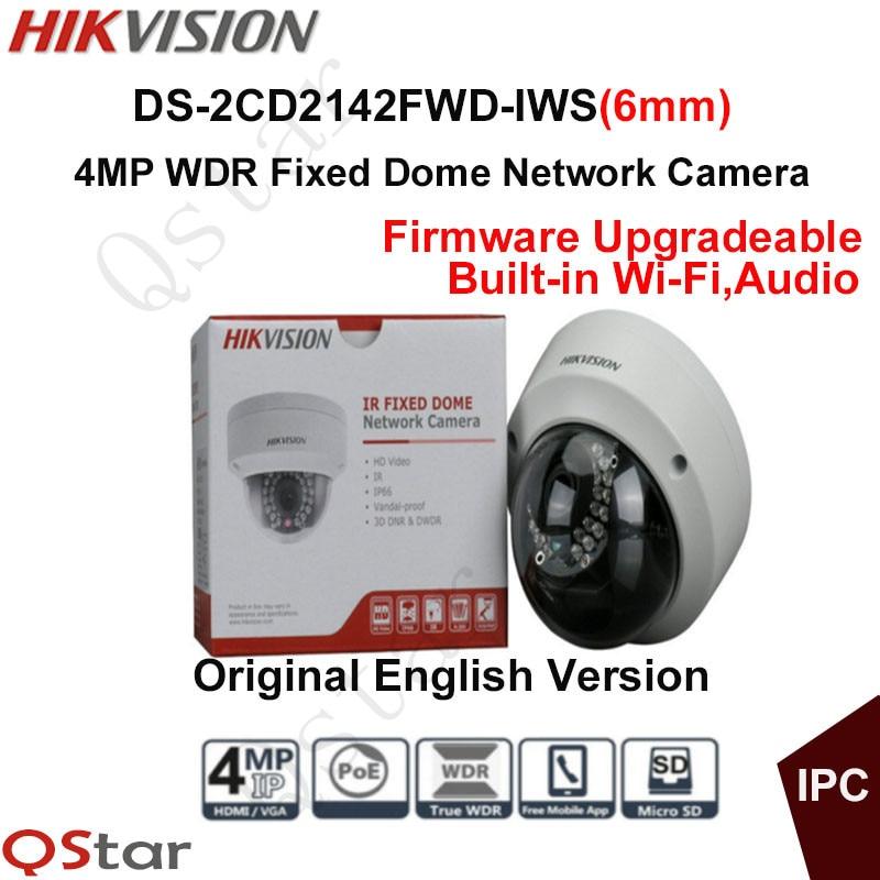 Hikvision Original English Version Surveillance Camera DS-2CD2142FWD-IWS(6mm) 4MP IP Camera PoE Audio WIFI CCTV Camera P2P Onvif 2016 hikvision new arrive english version ip camera ds 2cd2t52 i5 5mp cctv camera 50m ir surveillance camera