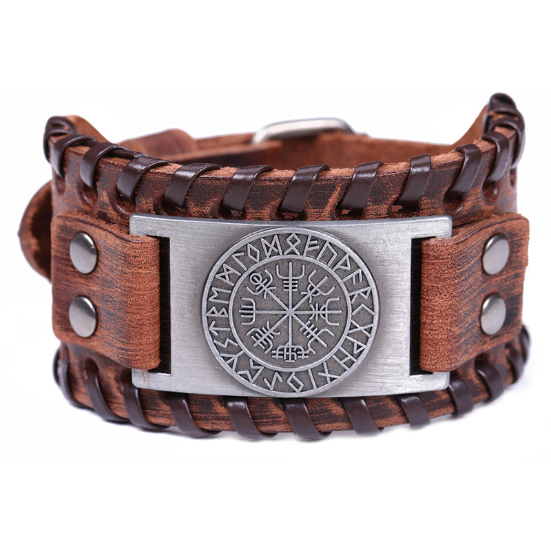 цена на My Shape Viking Vegvisir Compass Bangles Nordic Runes Odin Symbol Wrap Genuine Leather Men Jewelry Accessories