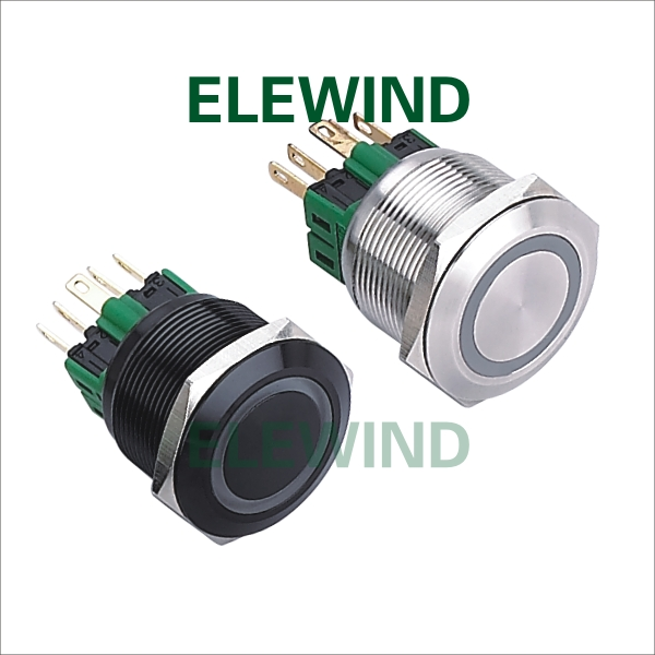 ELEWIND 25mm Stainless steel Ring illuminated  Momentary push button switch cheaper price(PM251F-11E/B/12V/S) elewind 22mm black illuminated power symbol push button switch pm221f 11zet b 12v a