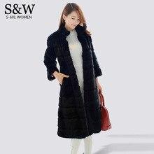 Plus Size 5XL 6XL Winter Maxi Fur Coats Women Stripe Stand Collar X-Long Rabbit Fur Coat Artificial Fur Coat Black Parka Jacket