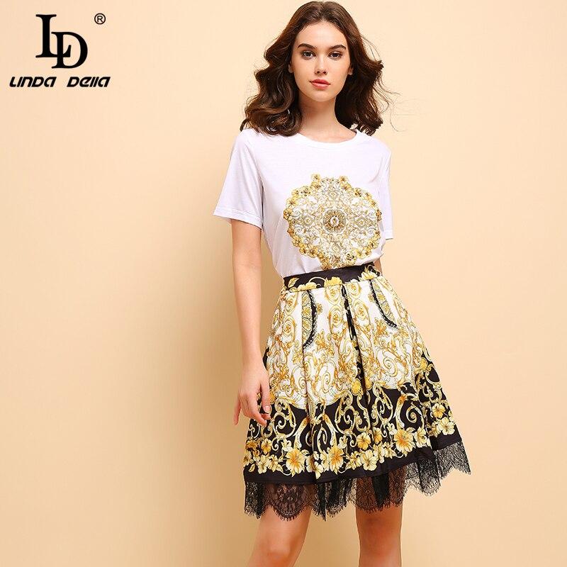 LD LINDA DELLA Fashion Spring Summer Suits Women's Elegant Short Sleeve Beading T-shirt+Vintage Floral Printed Skirt 2Pieces Set
