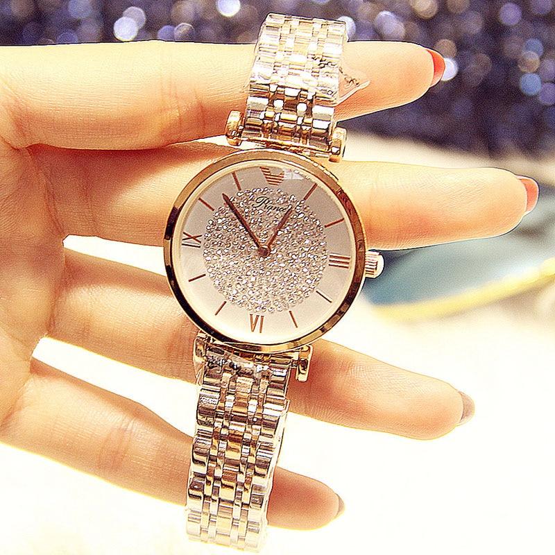 2019 femmes montres de luxe marque dame femme Quartz cristal montre-bracelet pour femmes femme en acier dames montre-bracelet Relogio Feminino
