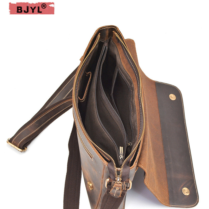 все цены на BJYL Retro Crazy Horse Leather Men's Shoulder Bag Genuine Leather Crossbody Flap Buckle Laptop business Briefcase Messenger Bag онлайн