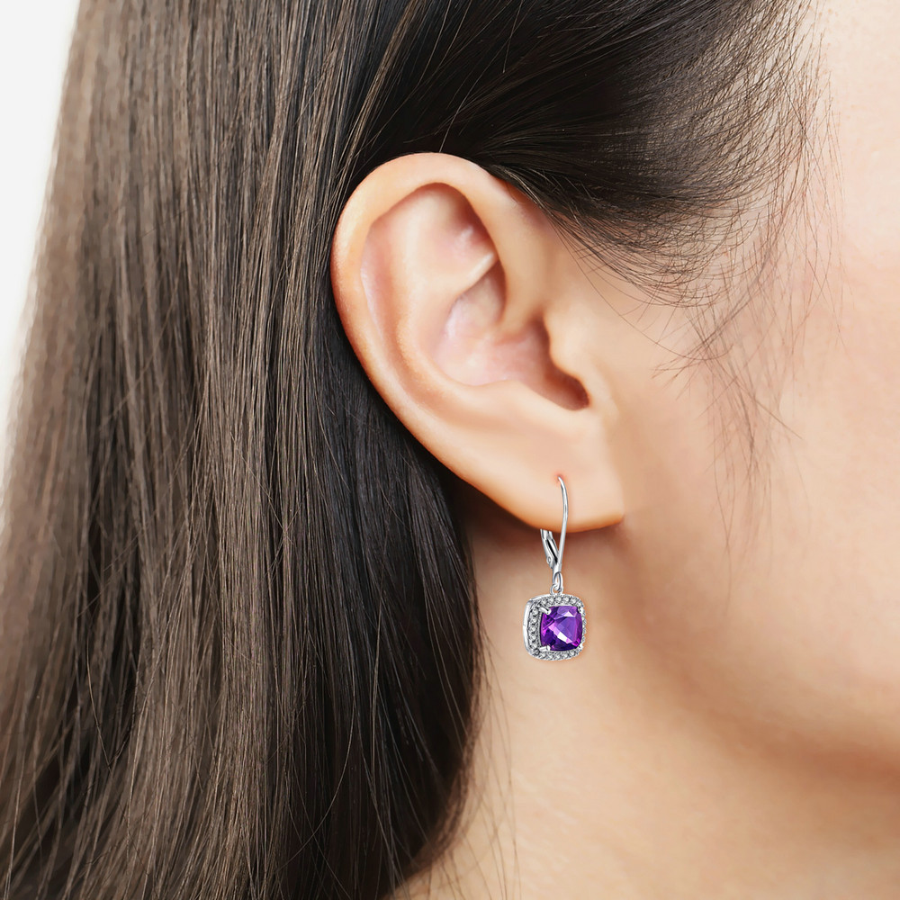 MoBuy MBEI001 Cushion Natrual Gemstone Amethyst Drop/Dangle Earring - Fine Jewelry - Photo 2