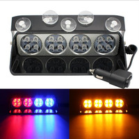 S16 High Power LED Car Front Glass Strobe Light Shovel Type Sucker Light Warning Light Flashing Light Police Light 3color