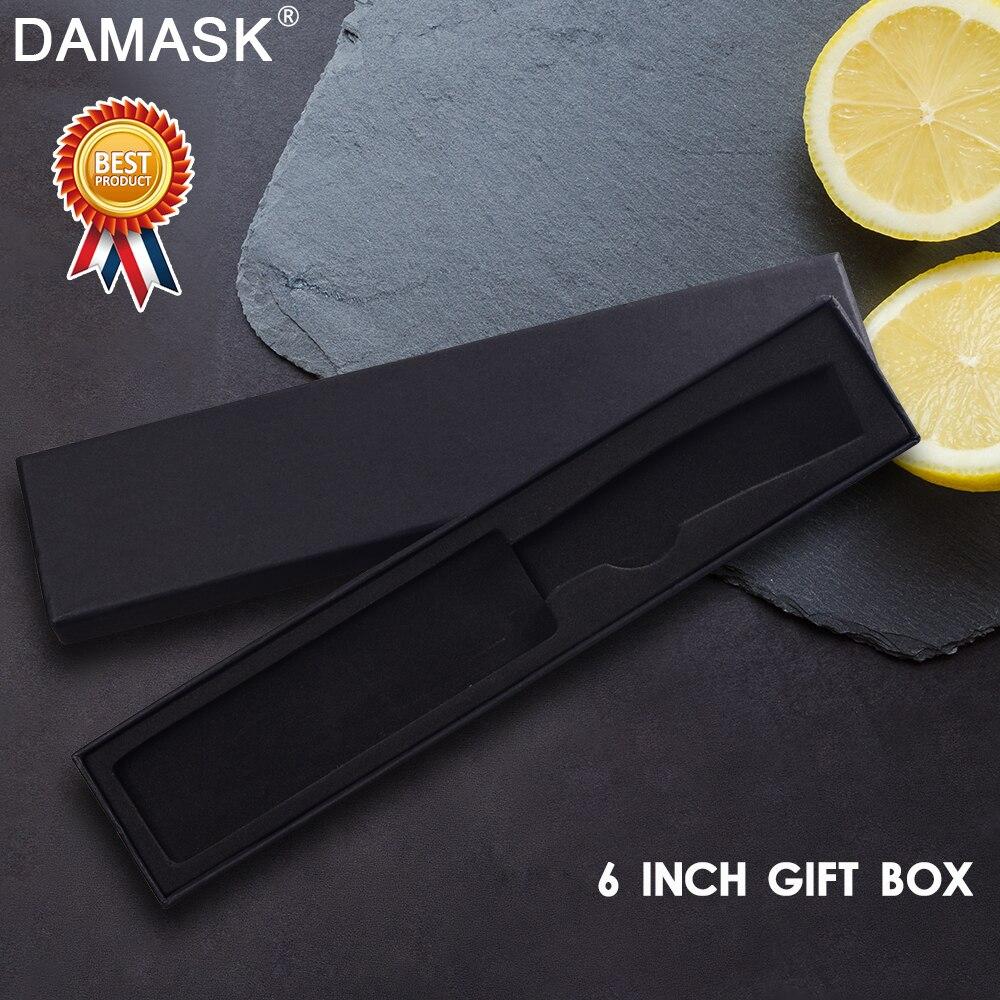 Damask Multifunctional Stainless Steel Knife Box Damascus Steel Kitchen Knife Black Hard Paper Gift Box Kitchen Tools 6/8 Inch