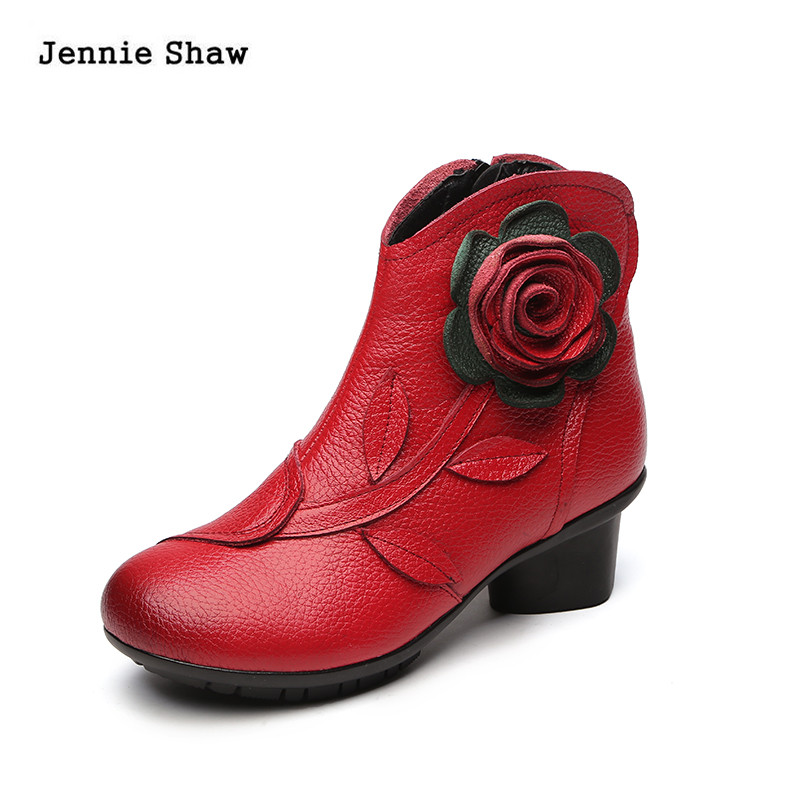women boots ankle med heel genuine leather print flowers martin boots shoes женские ботинки dx32 d32 ankle boots