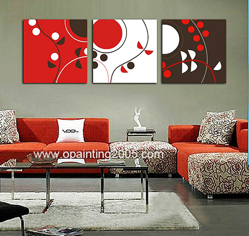 Hot Mural Home Craft Hand Decorative Paintings 3 Piece Abstract Canvas Art Black And Red Abstract