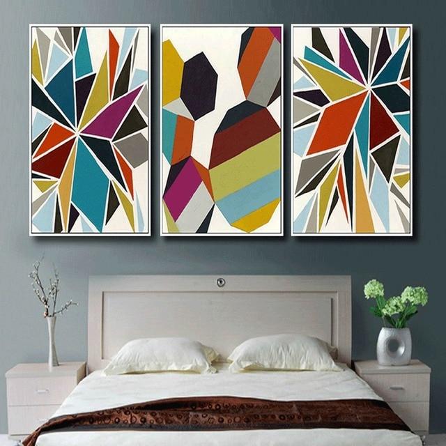 Aquarelle Fond Geometrique Peinture Murale Toile Moderne En Forme De