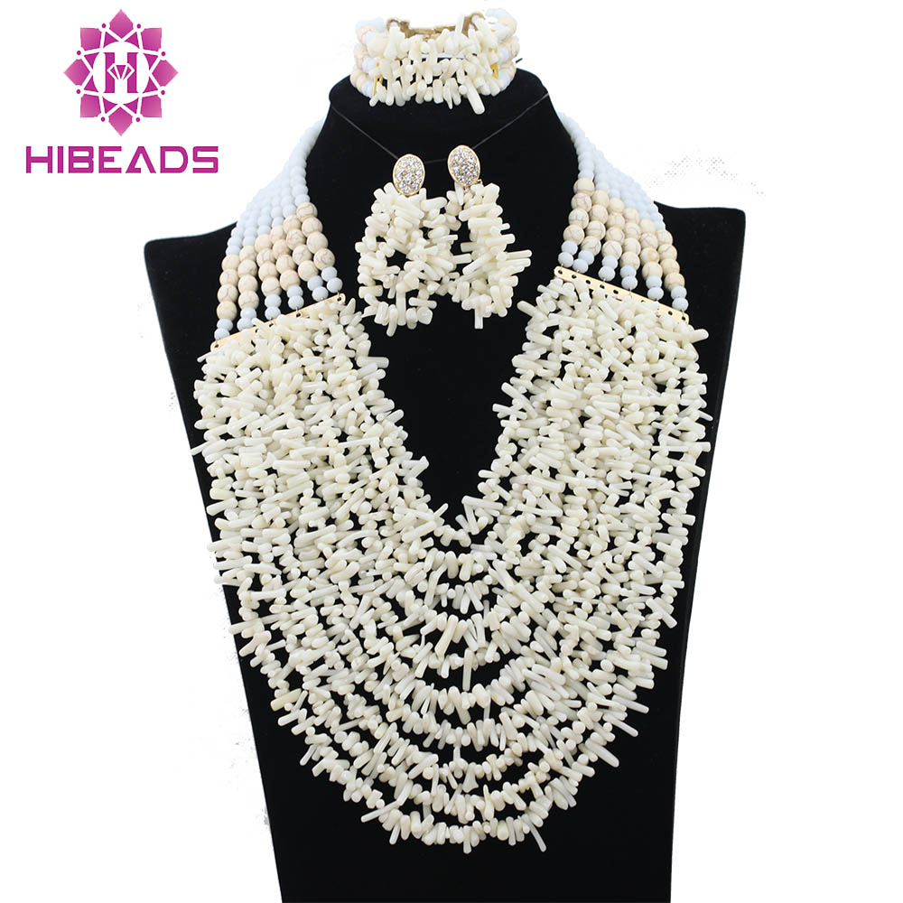 White Nigerian Coral Beads Bridal Jewelry Set African Wedding Coral Beads Necklace Set 2017 New Free Shipping CNR325White Nigerian Coral Beads Bridal Jewelry Set African Wedding Coral Beads Necklace Set 2017 New Free Shipping CNR325