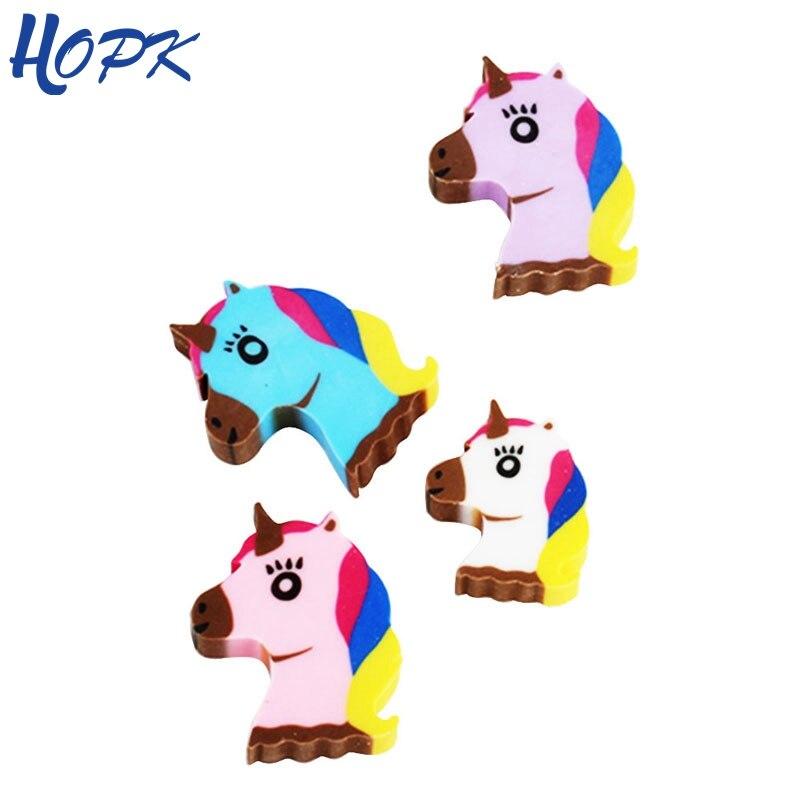 4 Pcs/lot Kawaii Unicorn Pencil Eraser Cute Mini Animal Modify Eraser  For School Student Stationery Tool Kids Prize Toys Gift