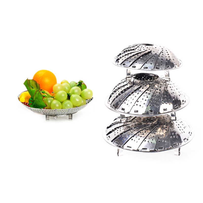 >Retractable Folding Stainless Steel Steamer Plate Large <font><b>Medium</b></font> <font><b>And</b></font> Small Three <font><b>Size</b></font> Can Do Fruit Bowl Use Home <font><b>Kitchen</b></font> Tools