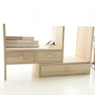 Creative Desk Book Holder Book Shelf  Wood Office Book Stand Holder With Drawer wood stand holder