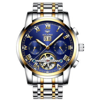 AILANG Top Brand Luxury Mens Tourbillon Mechanical Wristwatch Automatic Skeleton Business Watch Date Watches relogio masculino