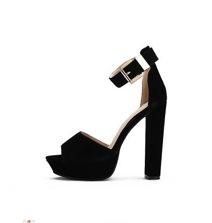Newest women sandals high heel 14 cm peep-toe buckle strap concise style ladies thick heel red nude black platform party sandals