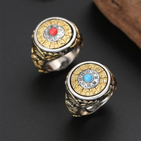 100% Real 925 Sterling Silver Gossip Zodiac Rotatable Ring for Men Women Buddha Mosaic Turquoise 2019 Adjustable Ring Jewelry
