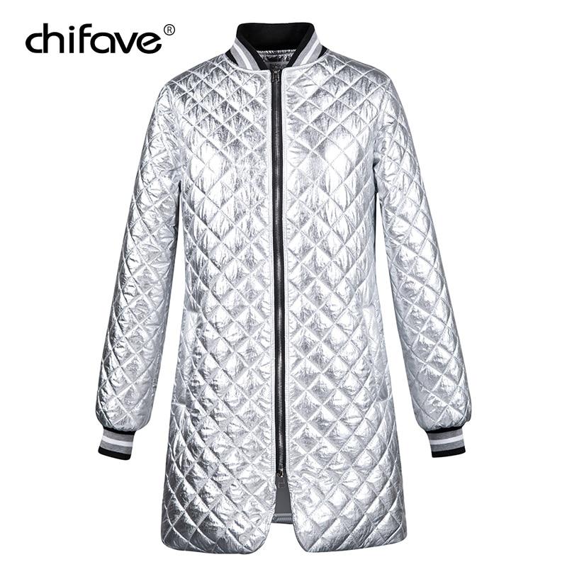chifave Winter Woman Coats 2018 Fashion Silver   Parka   Coat Women's Jacket Plus Size Ladies Double Side Zip Casual Warm Long Coats