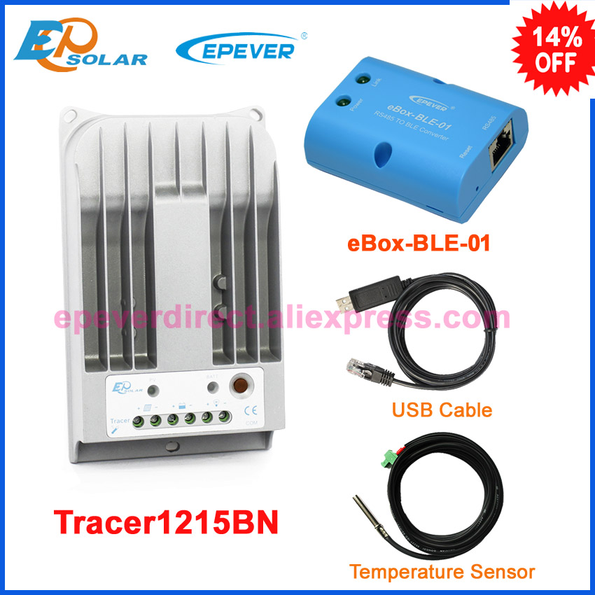 Max PV input 150v solar charging EPEVER EPSolar regulator Tracer1215BN 10A 10amp with eBOX-BLE-01 USB+sensor free shipping 10a 10amp tracer1215bn with temperature sensor solar battery regulator mt50 remote meter free shipping max pv input 150v