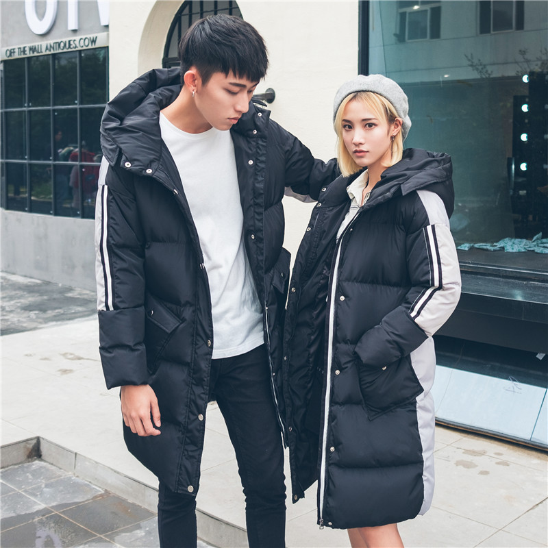 Hooded Designer Sweethearts Winter Clothes X-Long Splicing Lovers Thickening Cotton-padded Coats