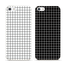 For iPhone 6 Case Black White Grid Fashion Match Brand Mobile Phone Case For iPhone 5 5S 6PLUS 7 7PLUS 8 8PLUS X 4 4S 5C