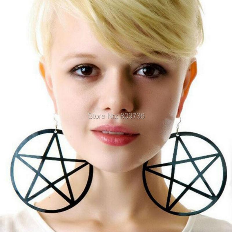 Pank Qaya Böyük Ulduz Sırğalar Qotili Qadınlar Böyük Pentagram - Moda zərgərlik - Fotoqrafiya 3