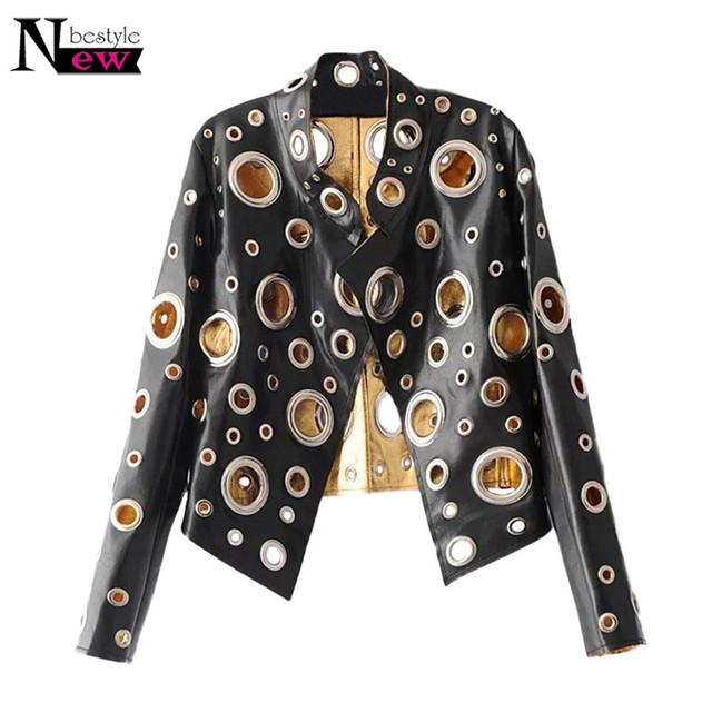 04cc4754575 2018 Women Round Metal Hole Hollow Out Leather Jacket Woman Gold Black  Silver Punk Motorcycle Jacket Stand Collar Coat Clothing
