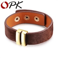 OPK European Horse Hair Leather Wrap Bracelet For Women Gold Plated Black Brown Color Adjustable Length