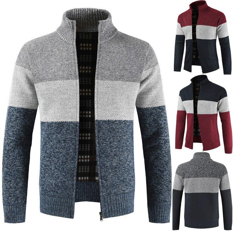 The New 2018 Collar Men Sweater Cardigan Thickening And Hitting Scene Wool Sweater Coat