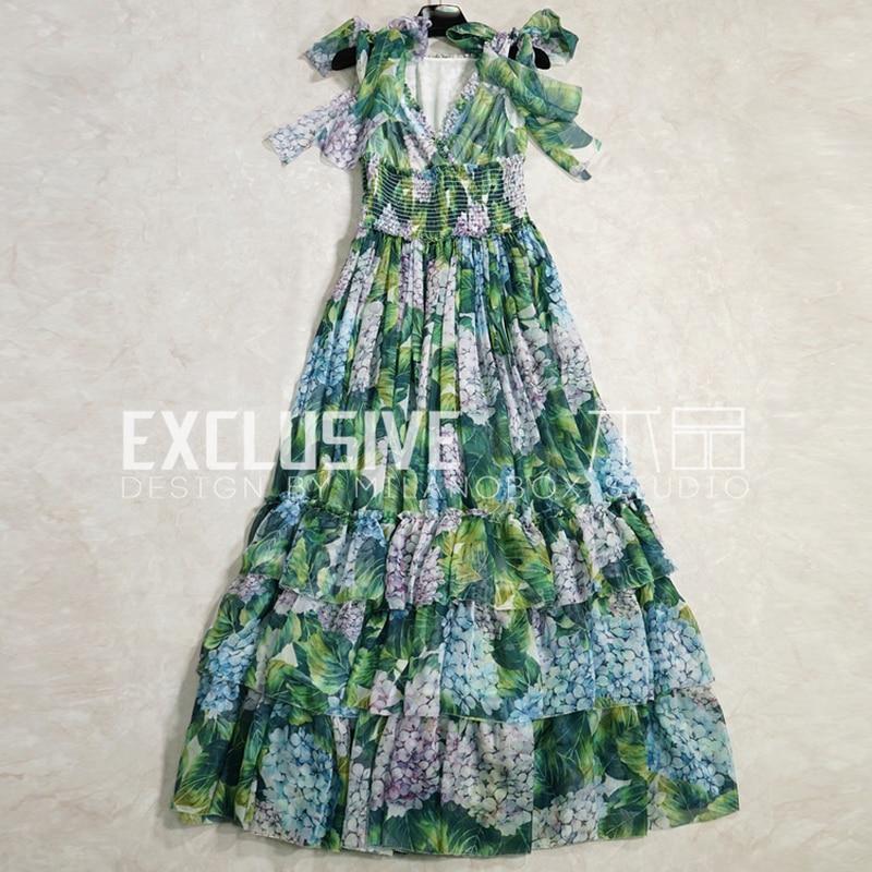 SVORYXIU взлетно посадочной полосы Дизайнерские летние платье макси Для женщин Sexy v образным вырезом многоуровневыми оборками Зеленый цветок п