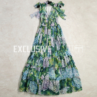 SVORYXIU Runway Designer Summer Maxi Dress Women's Sexy V Neck Tiered Ruffles Green Flower Printed High End Long Dress