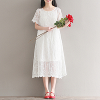 White Floral Embroidery Lace Girls Dress 2 Piece Set 2017 Summer Casual Boho Style Romatic Wedding