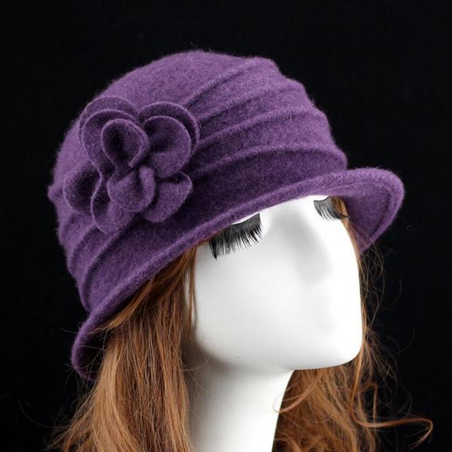 Gorros de lana para mujer con domo fedora 100% para Otoño e Invierno sólido  floral 086ebaee8c8