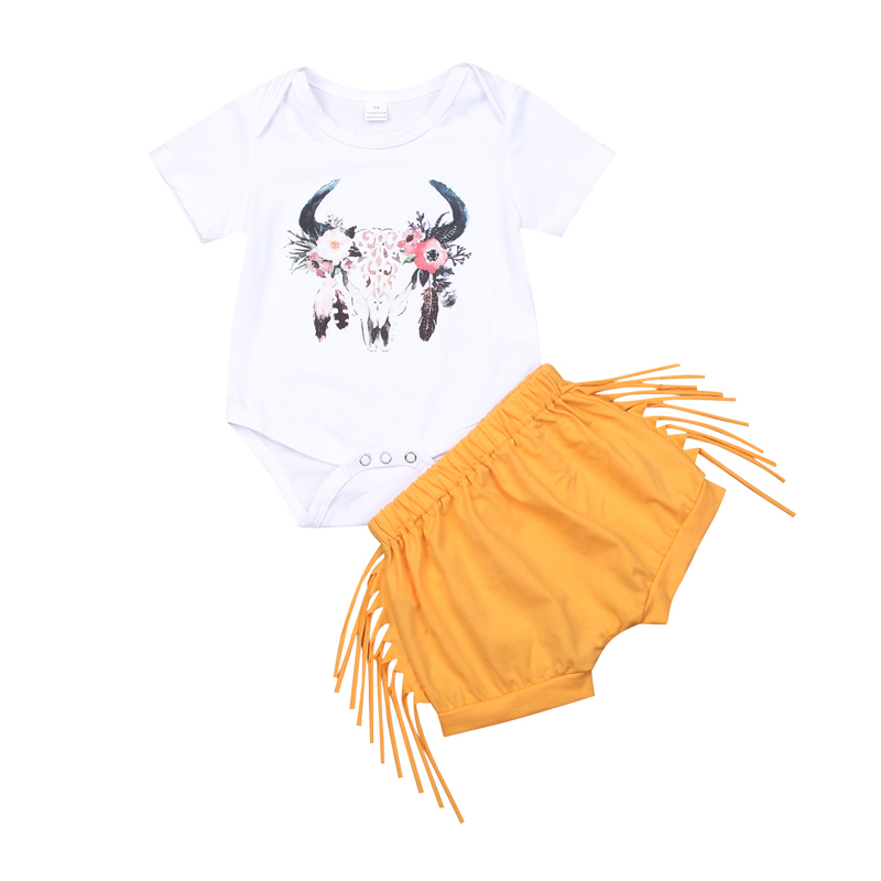 New Fashion Newborn Toddler Infant Girls Clothes Summer Short Sleeve O-Neck Tassel Tops Pants 2pcs Deer Outfits