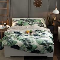 厚いフリース暖かい柔らかいベッドシートセットかわいい現代自由奔放に生きる寝具セットクイーンキングサイズ葉猫布団カバーベッドリネンセッ