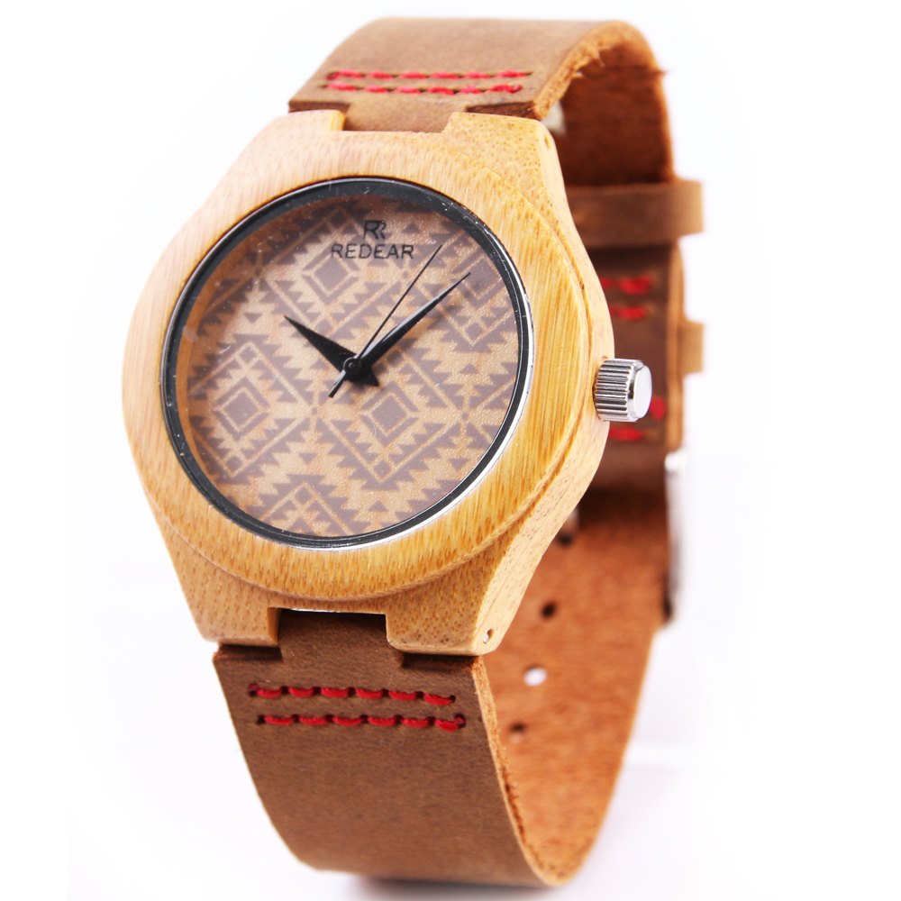 Hot Sell Men Women Luxury Wood Bamboo Watches Fashion Square Stripe Wooden Watch Real Leather Bands Wristwatch Relogio Masculino