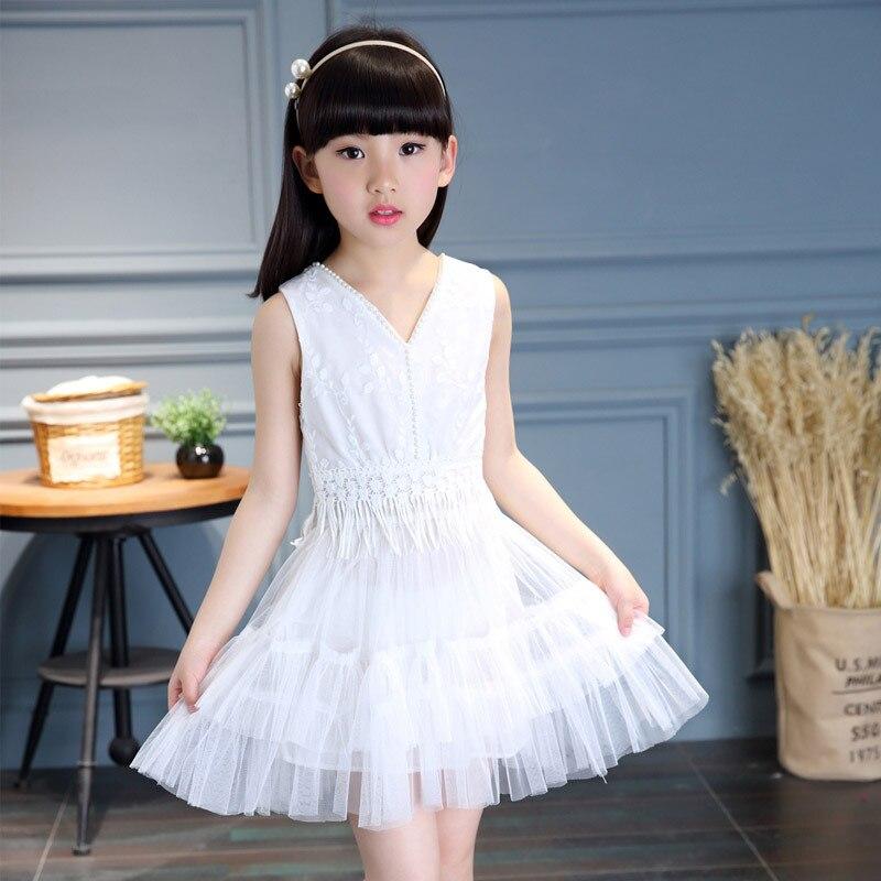 dc49c12c36f Korean Children s Princess Girls Gauze New Summer Child Flowers Sleeveless  Cotton Dress Lace White Pink