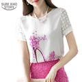 2016 new spring summer  Women Fashion print Short Sleeve Diamonds Blouses Shirts  plus size Casual Chiffon Flower Blusas 89J 28