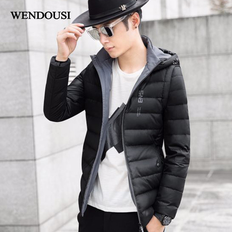 WENDOUSI Autumn Winter Jacket Men New Couples Thin Coats Duck Down Ultra-Light Slim Hooded Removable Down Solid Parkas HS711