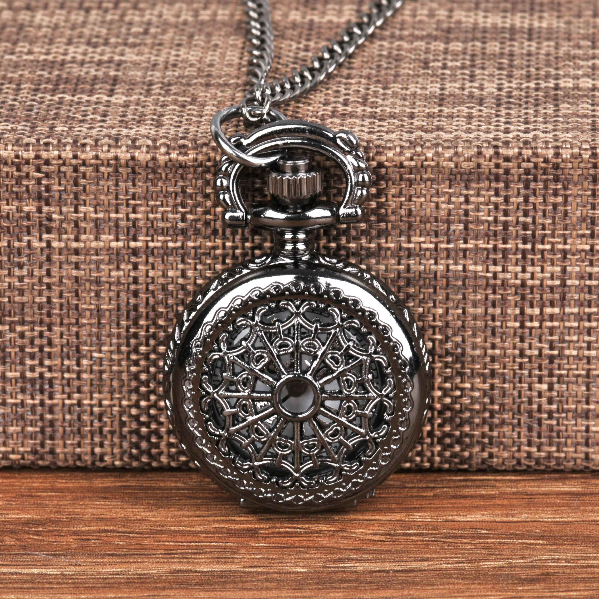 Small Pocket Watch Black Cobweb Retro Vintage Classic With Necklace