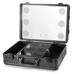 Make-up Zug Fall, Pro Aluminium Kosmetische Veranstalter Box Tasche Mit LED & Spiegel, große Kapazität Schönheit Künstler Kosmetische Werkzeuge Storag