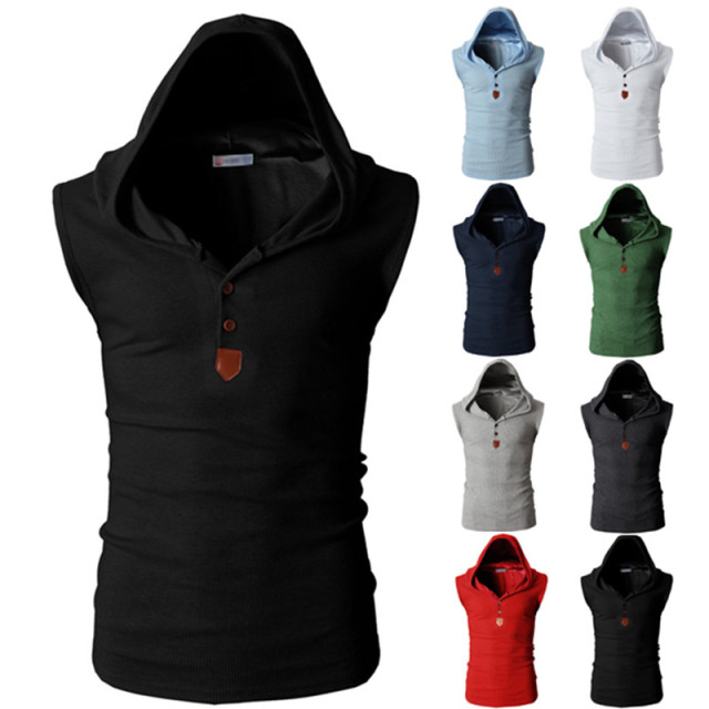 Fashion Solid Hoodied Tops Fashion Sleeveless Hoody Tops Tee Casual T Shirt Men Slim Fitness College Male T-shirts Multi Colors 3