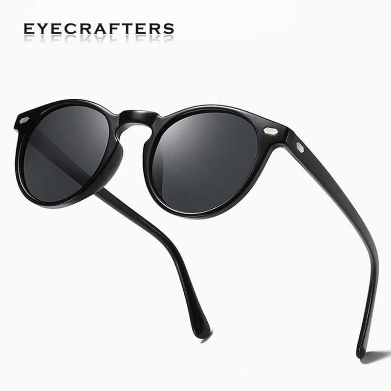 TR90 Lightweight Tortoise Brown Glasses Men Women Classic Vintage Retro Polarized Sunglasses Round Sunglasses Eyewear