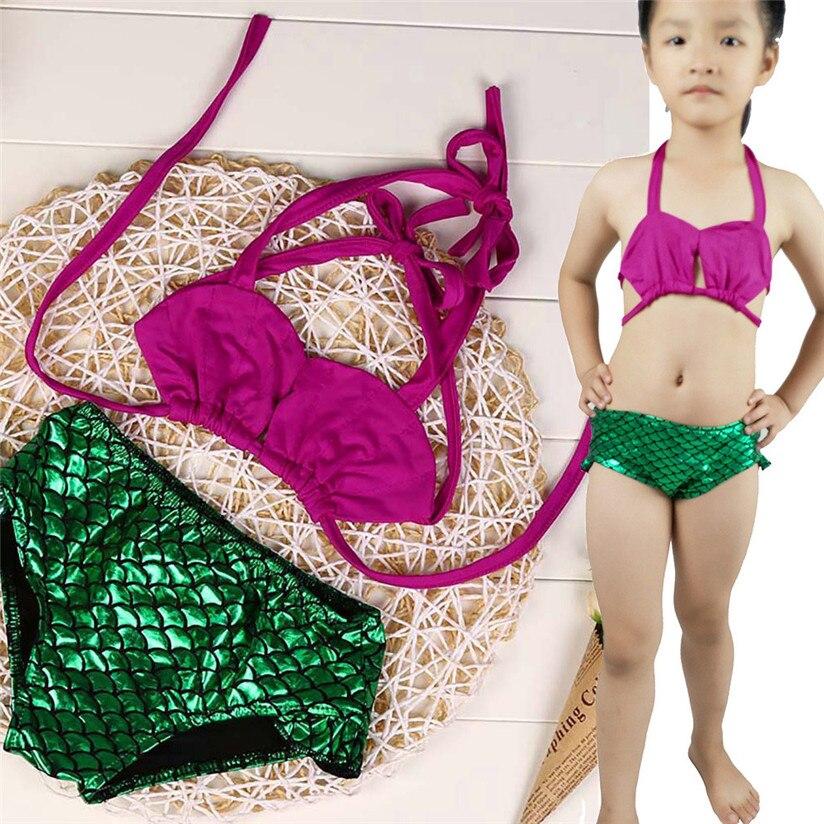2018 New Fashion Bling Bling Princess water proof Mermaid Swimsuit Kids Baby Girl Bandage Swimsuit Swimwear Bathing Bikini P3